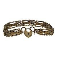 Edwardian Style 9 Kt Gold Gate Bracelet Heart Padlock Closure-English HM