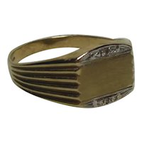 9 Kt Gold Diamond Accented Signet Ring
