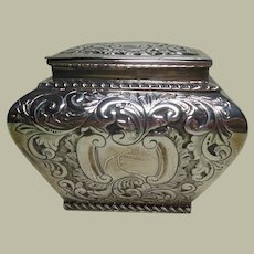 Sterling Silver Tea Caddy  English HM 1897