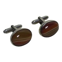 Beautiful Sterling Silver & Banded Agate Cuff Links English HM