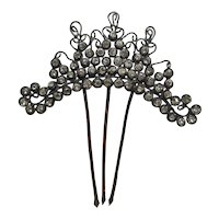 Antique Diamonte-Silver Tone Metal- Hair Comb Ornamental Tiara