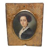Antique 19Th Century Miniature Lady Hand Painted Portrait