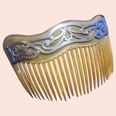 Edwardian Hair Comb with Sterling Silver Accent HM 1906