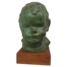 Bronze Sculpture Head of Young Child by Gage