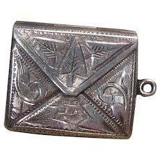 Antique Sterling Silver Envelope Charm/Stamp Holder HM 1904