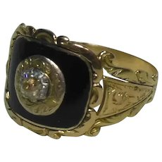 18 Kt Gold Enamel & Diamond Mourning Ring-