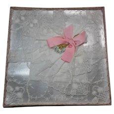 Vintage White Linen& Lace Wedding Handkerchief
