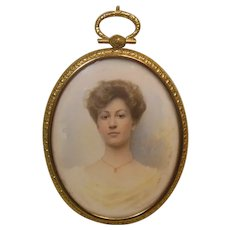 Hand Painted Portrait Miniature of Young Elegant Lady