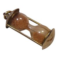 9 Kt Gold & Glass Hourglass Charm