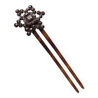 Antique Steel & Faux Tortoise Shell Hair Comb