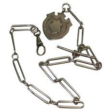Antique Sterling Silver/Trombone Link Albert Watch Chain & Fob