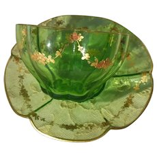 Delicate Glass & Gilt Gold Accented Ruffled Cup & Saucer