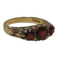 9 Kt Gold & Trio Garnet Half Hoop Ring-English Estate
