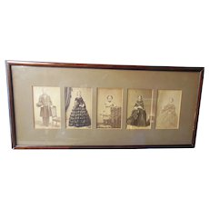 Carte de Viste/Cabinet Victorian Framed 5 Photograph Portraits