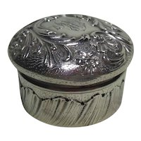 Sterling Silver Pill/Keepsake/Trinket Box- HM