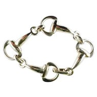 Vintage Classic Equestrian Sterling Stirrups Taxco Bracelet
