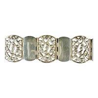 Vintage 1930s Signed Mexico Sterling Wide Bracelet