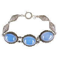 Art Deco Chalcedony Marcasite Sterling Bracelet