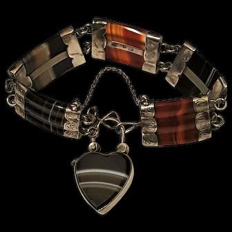 Victorian Scottish Silver Agate Padlock Bracelet with Locket Back