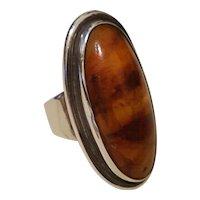 Vintage Sterling Large Baltic Amber Modernist Ring EF Denmark