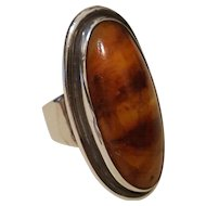 Vintage Sterling Large Baltic Amber Modernist Ring EF Denmark