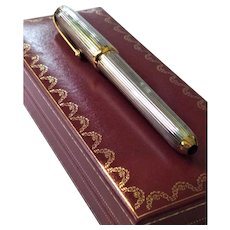 Louis Cartier Godron Silver Plated 18k Gold Nib Fountain Pen Onyx Cabochon &  Original Box