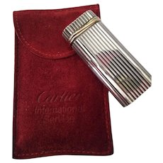 Cartier Silver Trinity & Gold Plated Bands Butane Lighter w Pouch