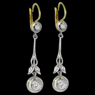 Antique Victorian 14k 1.00 ct. Old MIne & Rose Cut Diamond Drop Earrings