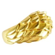 Vintage Judith Leiber 18k Gold Dragon Scale Ring