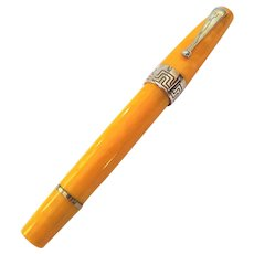 Montegrappa Extra Yellow Celluloid Sterling Silver Roller Ball Pen with Box