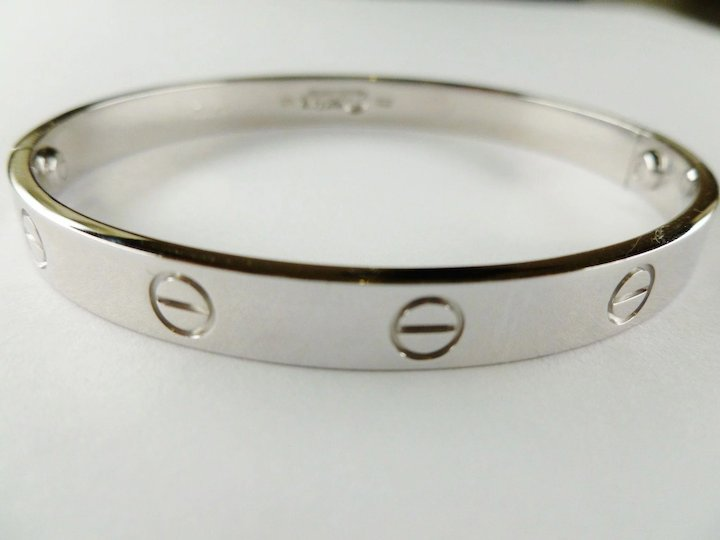 Vintage Cartier Love 18k White Gold Bangle Bracelet Size 17