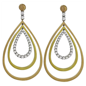 Estate Damiani Italy 1.00 ct Diamond 18k Tri Color Gold Chandelier Earrings