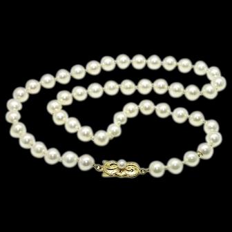 Estate 18k Mikimoto 7mm Cultured Pearl Strand Necklace