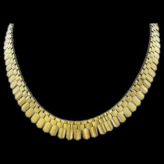 Vintage, circa 1940, 18k Gold Retro Necklace