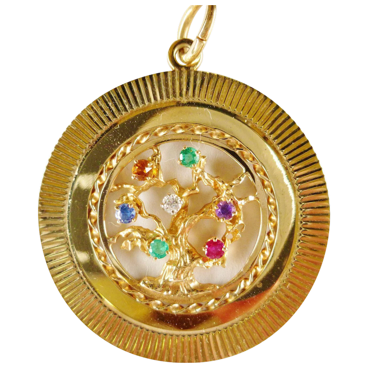 f81d5519a Vintage Tiffany & Co 14k Multi Color 'Dearest' Tree of Life Pendant Charm