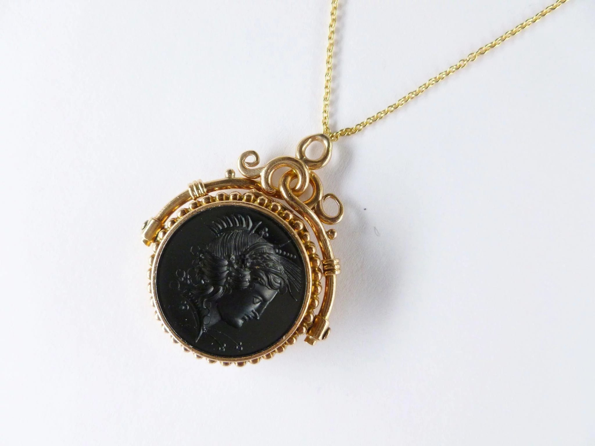 necklace pendant intaglio pin crown gemini mark zodiac trifari twins