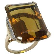 Retro 1940s 14k Citrine 25.00ct Diamond 0.70ct Ring