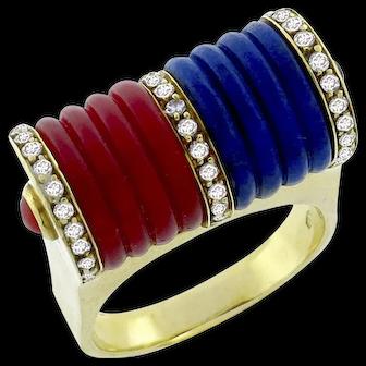 Vintage 18k Carved Coral Lapis Diamond Ring Circa 1960