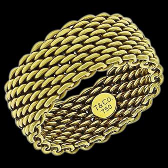Estate 18k Tiffany & co Mesh Band Ring