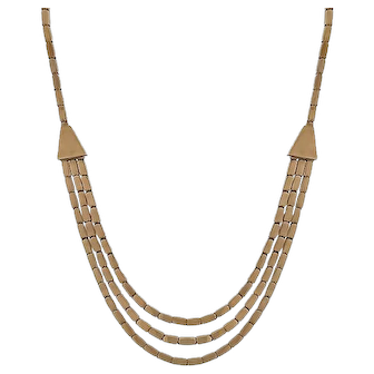 Retro 1940s 14k Pink Gold Multi-Layered Necklace