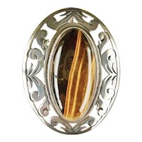 Vintage Large 925 Mexico Signed Tiger Eye Pendant Pin