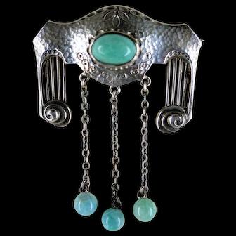 Jugendstil Circa 1900 Hammered Silver Amazonite Brooch