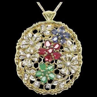 Vintage 14k MultiColor Gemstone Diamond Pin / Pendant