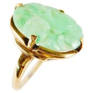 Art Deco Chinese Natural Carved Jade 10K Gold Ring