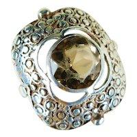 Jugendstil Period Germany Sterling Silver Smoky Quartz Ring