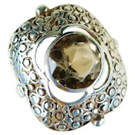 Jugendstil Period Germany Sterling Silver Smoky Quartz Ring