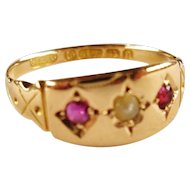 Antique English Victorian 15k Gold Ruby Pearl Ring