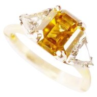 Estate Golden Brown Zircon 2.20ct 18k 14k Diamond Trillion 0.75ct tw Ring