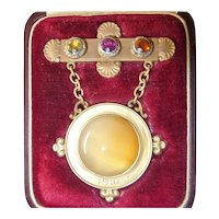 Antique 1910 Revival 'BBB' 14k Agate Rose Cut Diamond Brooch Fitted Box