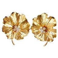 Vintage 14k Diamond Floral Large Handmade Earrings